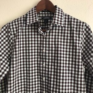 VINTAGE Gingham plaid 100% cotton button up shirt